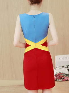 Blue Red Yellow Sheath Above Knee Plus Size Dress for Casual Party