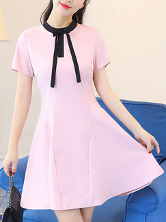 Pink and Black Cute Fit & Flare Above Knee Plus Size Dress for Casual Party