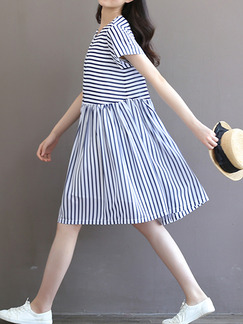 Blue White Stripe Fit & Flare Knee Length Plus Size Dress for Casual Beach