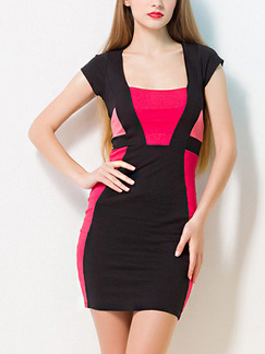 Pink and Black Bodycon Above Knee Dress for Casual Party Office