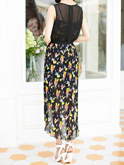 Black Colorful Maxi Floral Dress for Casual Party