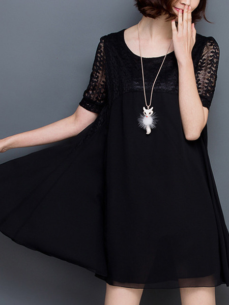 Black Shift Above Knee Lace Plus Size Dress for Casual Office Party Evening