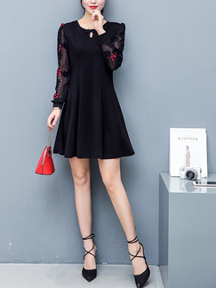 Black Fit & Flare Above Knee Plus Size Long Sleeve Dress for Casual Office Party Evening