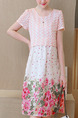 Pink Colorful Cute Shift Knee Length Plus Size Floral Dress for Casual Party