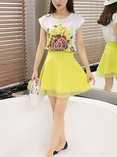 White and Yellow Two Piece Fit & Flare Above Knee Plus Size Dress for Casual Party