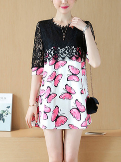 Pink White Black Shift Above Knee Plus Size Lace Dress for Casual Office Party