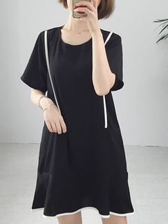 Black Shift Above Knee T-Shirt Dress for Casual Party Office
