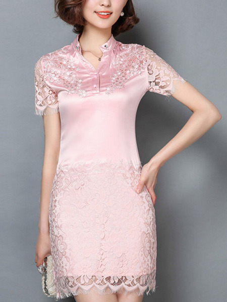 Pink Cute Bodycon Above Knee Plus Size Lace V Neck Dress for Office Party Evening Nightclub