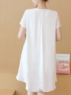 White Colorful Shift Above Knee Plus Size Dress for Casual Office Party