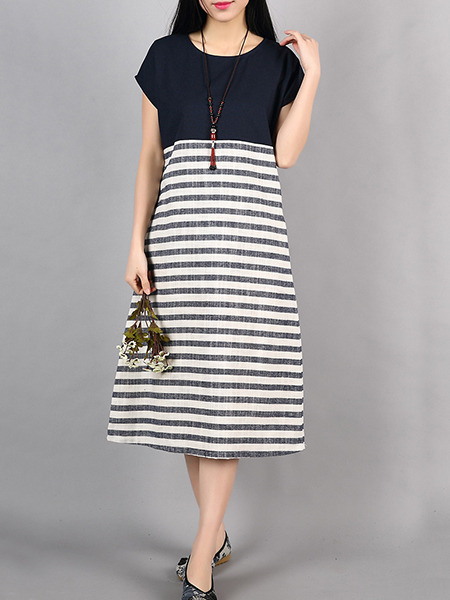 Black and White Stripe Shift Midi Plus Size Dress for Casual Office