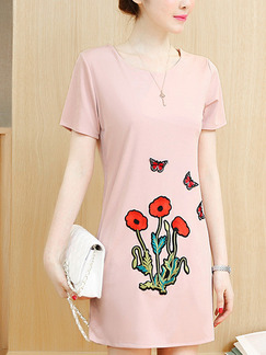 Pink Colorful Cute Shift Above Knee Plus Size Floral Dress for Casual Office Party