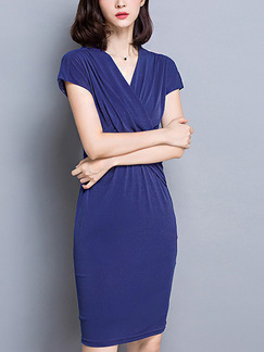 Blue Sheath Above Knee V Neck Plus Size Dress for Casual Office Evening