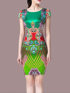 Colorful Bodycon Above Knee Plus Size Dress for Casual Party