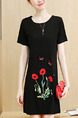Black Colorful Shift Above Knee Plus Size Floral Dress for Casual Party Office