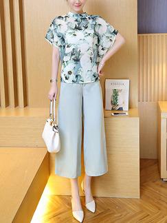 6e0c2fb823aa Blue Colorful Two Piece Shirt Pants Floral Plus Size Jumpsuit for Casual  Office