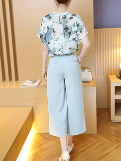 Blue Colorful Two Piece Shirt Pants Floral Plus Size Jumpsuit for Casual Office