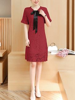 Red Shift Knee Length Plus Size Lace Dress for Casual Office Party