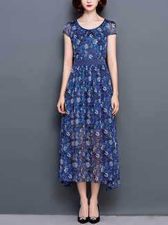 Blue Colorful Shift Midi Plus Size Floral Dress for Casual Party