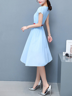 Blue Fit & Flare Knee Length Plus Size Dress for Casual Office Evening