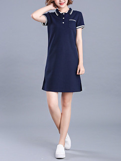 Blue Shift Above Knee Plus Size Shirt Dress for Casual Office