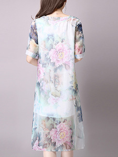 White Colorful Shift Knee Length Plus Size Floral Dress for Casual