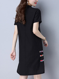 Black Shift Knee Length Plus Size Dress for Casual Office Party
