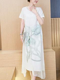 White Colorful Maxi Plus Size Dress for Casual Beach