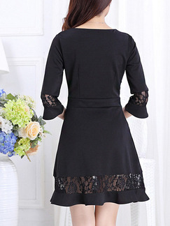 Black Fit & Flare  Above Knee Plus Size Lace Dress for Casual Office Evening