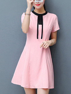 Pink Cute Fit & Flare Above Knee Plus Size Dress for Casual Office Party