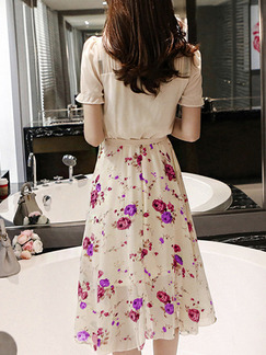 Beige Colorful Fit & Flare Knee Length Plus Size Floral Dress for Casual Office Party