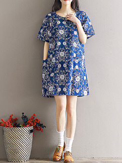 Blue White Shift Above Knee Plus Size Dress for Casual