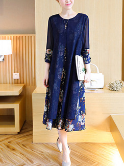 Blue Colorful Shift Midi Plus Size Floral Dress for Casual Office