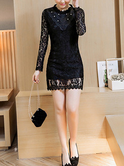 Black Bodycon Above Knee Plus Size Lace Long Sleeve Dress for Casual Party Evening Nightclub