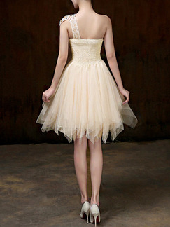 Champagne One Shoulder Fit & Flare Above Knee Dress for Bridesmaid Prom Cocktail