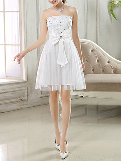 White Strapless Fit & Flare Above Knee Dress for Bridesmaid Prom Cocktail