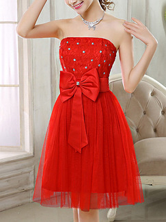 Red Strapless Fit & Flare Above Knee Dress for Bridesmaid Prom Cocktail