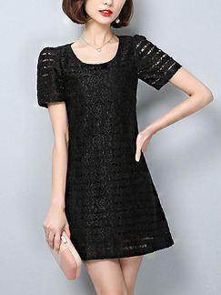Black Shift Above Knee Plus Size Lace Dress for Casual Evening Party