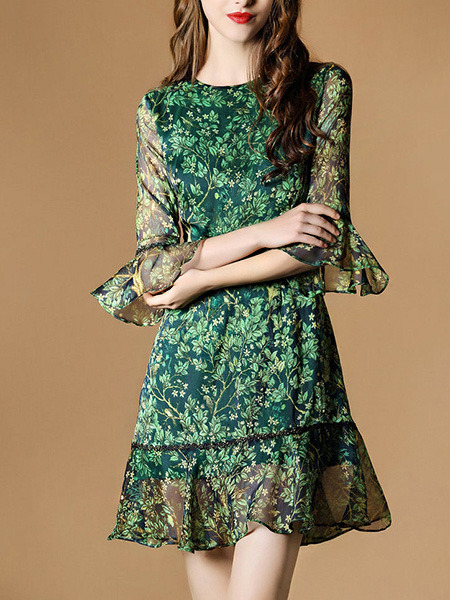 Green Colorful Fit & Flare Above Knee Plus Size Dress for Casual Office Evening Party