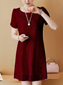 Red Shift Above Knee Plus Size Lace Dress for Casual Party Evening Office