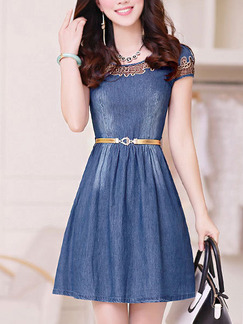 Blue Fit & Flare Above Knee Plus Size Denim Dress for Casual Party Office