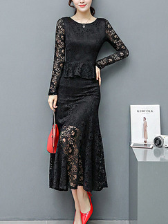 Black Midi Long Sleeve Lace Plus Size Dress for Cocktail Ball Prom