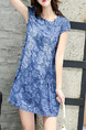 Blue Colorful Shift Above Knee Plus Size Floral Dress for Casual Party