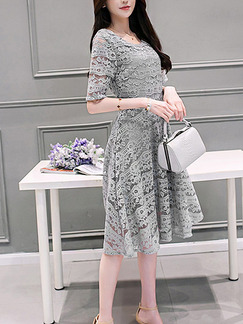 Grey Shift Knee Length Plus Size Lace Dress for Casual Office Party Evening