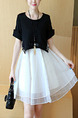 Black and White Fit & Flare Above Knee Plus Size Dress for Casual Party Nightclub