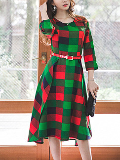 Green Red Colorful Shift Knee Length Plus Size Dress for Casual Office Evening