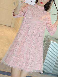 Pink Cute Shift Above Knee Plus Size Lace Dress for Casual Office Party Evening