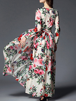 Colorful Maxi Floral Long Sleeve Plus Size Floral Dress for Cocktail