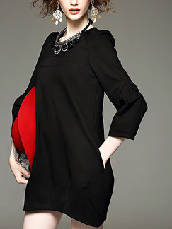 Black Shift Above Knee Plus Size Long Sleeve Dress for Casual Office Evening