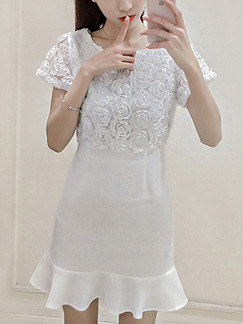 White Shift Above Knee Plus Size Lace Dress for Casual Party Nightclub