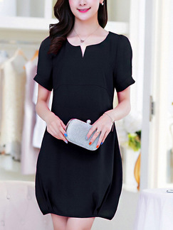 Black Shift Above Knee Plus Size Dress for Casual Office Evening